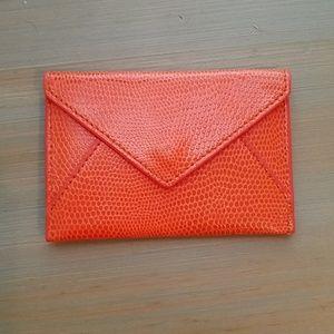 Orange Leather Envelope Wallet